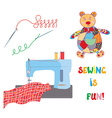 Sewing set with patchwork bear - funny design vector image vector image