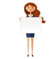 smiling business woman with banner friendly vector image