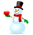 Snowman with heart vector image vector image