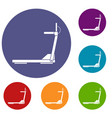 sport treadmill running road equipment icons set vector image vector image