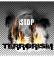 Stop terrorism in the fire smoke and skull vector image vector image