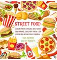 street food meals snacks menu poster vector image vector image