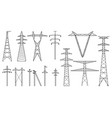 tangent towers high voltage electric pylons power vector image