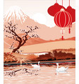 the landscapes - lake of mount fuji in red color vector image vector image