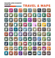 Travel and map icons with long shadow stock