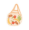 trendy eco reusable shopping bag with fruits vector image vector image