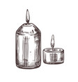 two drawing isolated candles with fire vector image