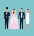 wedding couple suits vector image