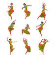 young man performing folk dance set smiling vector image vector image