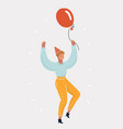 young woman holding party balloon vector image vector image