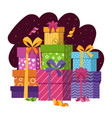 gift boxes stack in flat style vector image
