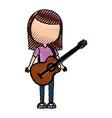 scribble women guitar cartoon vector image
