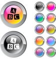 ABC cubes multicolor round button vector image