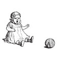 baby and a ball in this picture vintage engraving vector image vector image