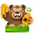bear with honey in nature vector image vector image