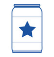 beer can with star emblem in blue silhouette vector image