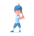 boy baseball player in a helmet holds a bat vector image vector image