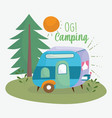 camping trailer pine tree vacations activity vector image vector image