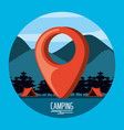 camping zone with tents and pin pointer location vector image vector image