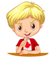 Canadian boy sitting down vector image vector image