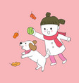 cartoon cute girl and dog playing ball vector image