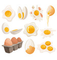 cartoon eggs isolated on white background set vector image vector image