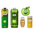 Cartoon green apple juice packs and fruit vector image vector image