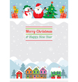 Christmas Characters and Winter Houses vector image vector image