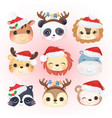 christmas decoration with cute animals vector image vector image