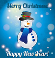 Christmas snowman A greeting card Congratulations vector image