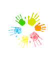 colorful silhouettes human palm prints arranged vector image
