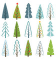 different christmas tree set vector image vector image
