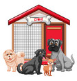 dog cage with dog group cartoon isolated vector image vector image