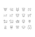 dogs line icons signs set outline vector image vector image