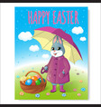 easter bunny poster with basket-06 vector image vector image