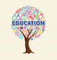education tree concept of outline school icon set vector image