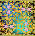 embroidery colorful baroque seamless pattern vector image vector image