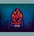 fight neon sign light night billboard isolated vector image