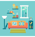 Flat design of modern home office interior with vector image