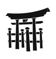 floating torii gate japan icon simple style vector image