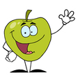 Friendly Green Apple Character Waving vector image vector image