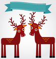 Funny brown deer on a white background Vintage vector image
