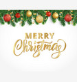 Greeting card with fir tree garland ornaments and