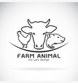 group of animal farm label cow pig chicken vector image vector image