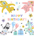 happy birthday cute for greeting card vector image vector image