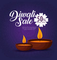 happy diwali sale with candles vector image