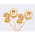 happy new year metallic gold balloons 2020 vector image vector image