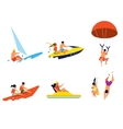 Happy people having fun on beach activities vector image