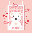 happy valentines day with paper photo frame vector image