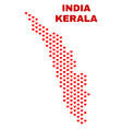 kerala state map - mosaic of lovely hearts vector image vector image